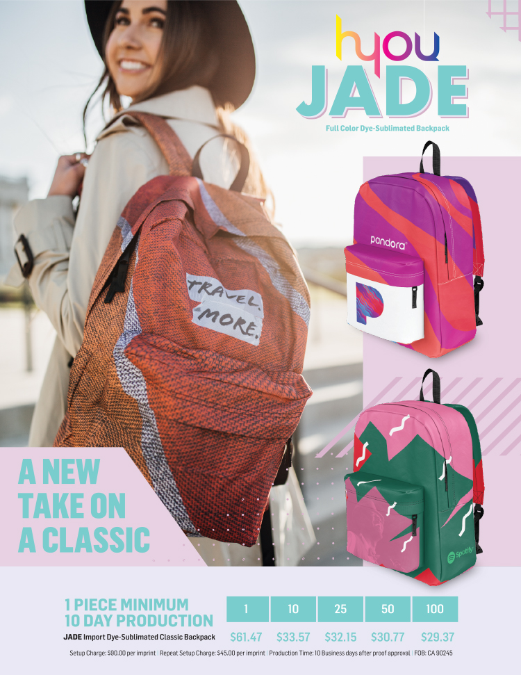 Jade Full Color Dye-Sublimated Backpack